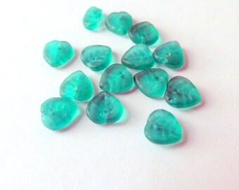 Czech Glass Bead Leaves 9 mm Heart Shape Emerald Matte  Qty 25