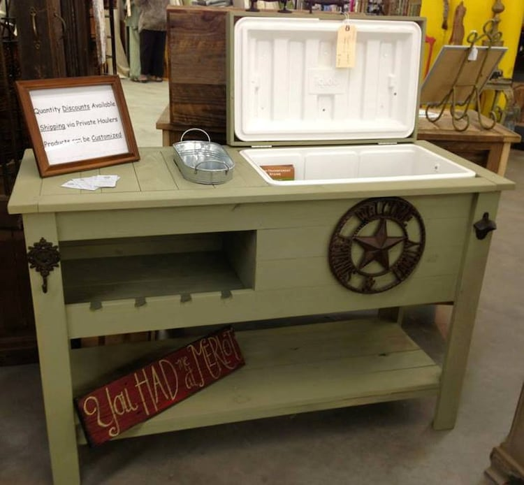 Rustic Cooler Table Shipped Or Free Pick Up By Rusticwoodworx