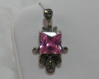 Bright Pink Marcasite Earrings