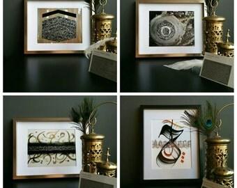 Set of 4 Modern Islamic Prints, modern islamic calligraphy, islamic wall art,  islamic home decor, moraccan, arabic calligraphy art