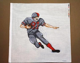 Football Player Needlepoint Canvas, Needlepoint Sports, Needlepoint Designs, Needlepoint Canvases, Painted Needlepoint, Stitchpainted Design