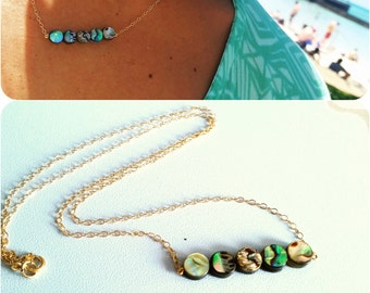 "Moana Abalone bar necklace on 14k gold-filled 16"" cable chain"