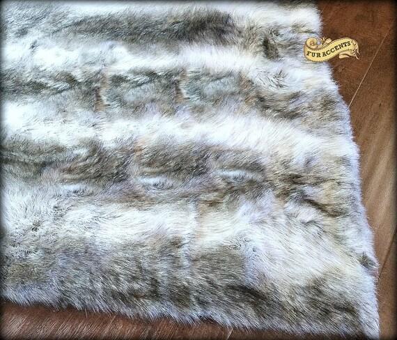 Fake Dog Skin Rug: FUR ACCENTS Faux Fur Stripe Wolf Skin Pelt Rug / By FurAccents