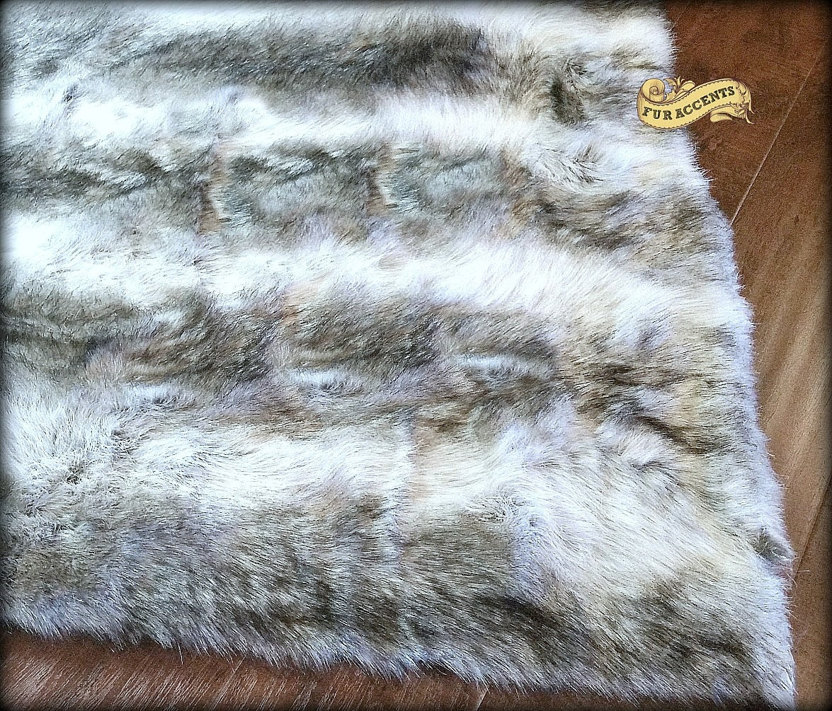 FUR ACCENTS Faux Fur Stripe Wolf Skin Pelt Rug / By FurAccents