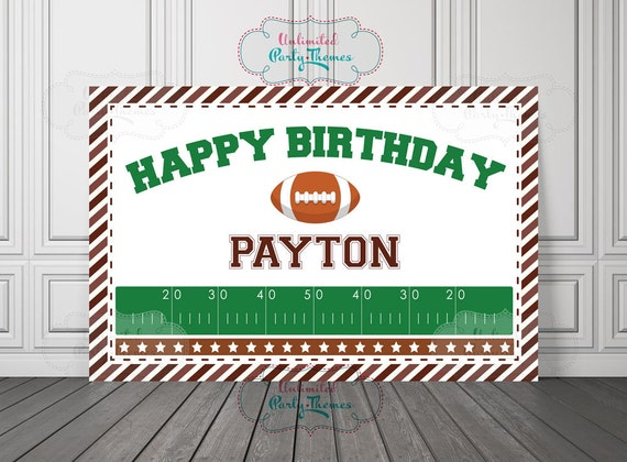 printed football birthday banner all star party decorations