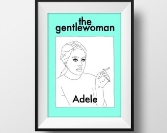 SUPER SALE*** Adele Gentlewoman Magazine Cover Graphic Illustration A4 - Art Print