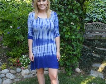 Plus Size Dress, Dresses, Tie Dye Dress, Plus Sizes, Plus Size Clothing, Royal Blue/White, Plus Dresses S M L XL & 2X