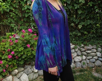 Tie Dye Cardigan, Cardigan, Women's Cardigan, Tie Dye, Cardigans, Purples and Blues with Black, S/M  Only