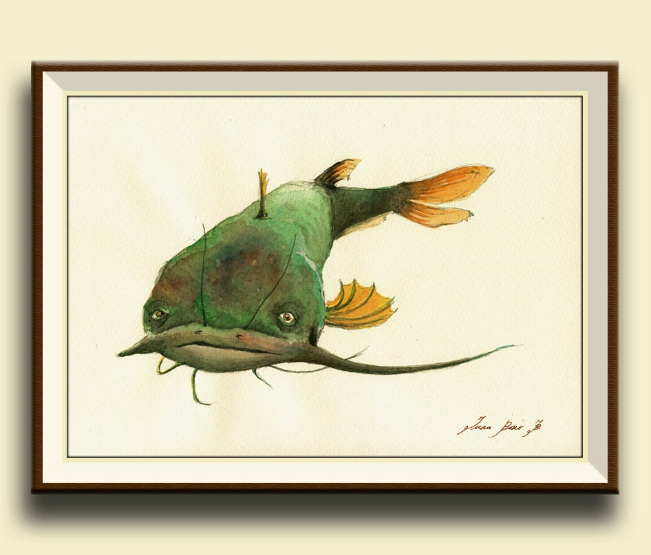 Print catfish fish watercolor painting print game fishing for Watercolor fish painting
