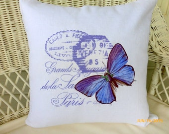 Accent pillow covers - White Linen Pillow Cover  - Vintage French Postcard -  Butterfly pillow covers - sofa pillows-  French country decor
