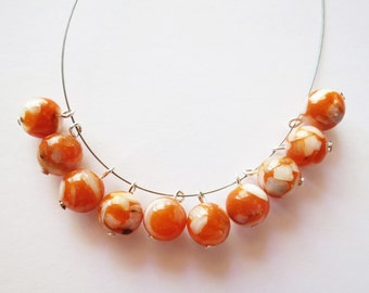 10pc Orange Bead Drops, 8mm Round Mother of Peal Orange White Bead Drops, Orange Shell Beads, MOP Shell Jewelry Drops, Jewelry Connectors