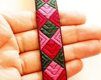 Pink, Fuchsia And Green Cotton Thread Embroidery One Yard Lace Trim 20mm Wide - 030315L42
