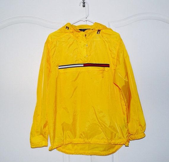 vintage yellow tommy hilfiger pullover jacket windbreaker sm. Black Bedroom Furniture Sets. Home Design Ideas