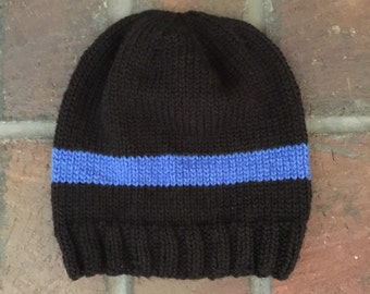 Knit Thin Blue Line Police Beanie Hat newborn through adult sizes available