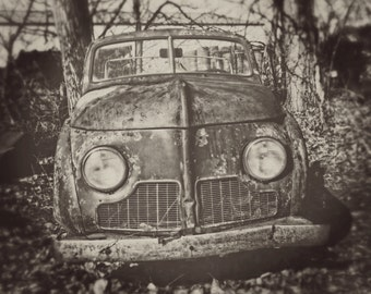 SALE: Classic Car Photography, Crosley Photo, Abandoned Rusted Clown Car, Man Cave Decor, Manly Artwork, Garage Decor, Car Enthusiast Gift
