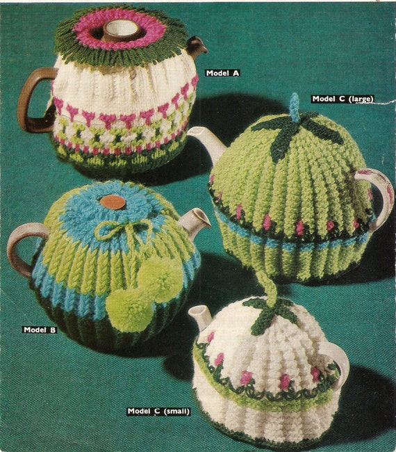 Vintage Tea Cosy Knitting Patterns : PDF Knitting Pattern Vintage Tea Cosies DK Sirdar 2518