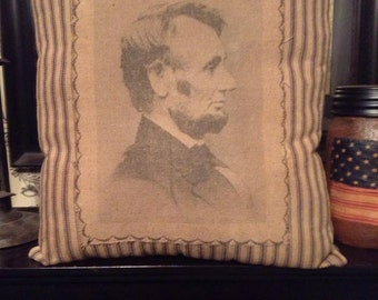 Abraham Lincoln Profile Pillow on Navy and Beige Ticking