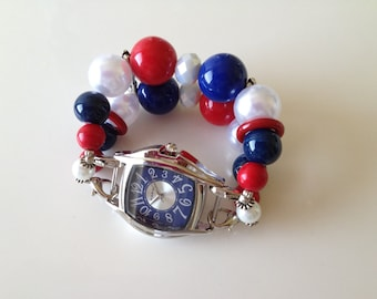4th of July Double Stranded Red White & Blue Beaded Watch Band Set (264)
