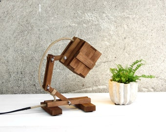 Wooden Lamp, Small Office Decor, Desk Lamp, Wood Lighting, Adjustable Lamp, Bedside Lamp, Wooden Gift, Unique Lamp, Kran Mini II