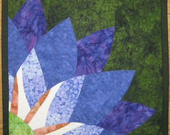 Art Quilt Purple Green Flower - Flower wall quilt - Wall hanging - Modern wall quilt