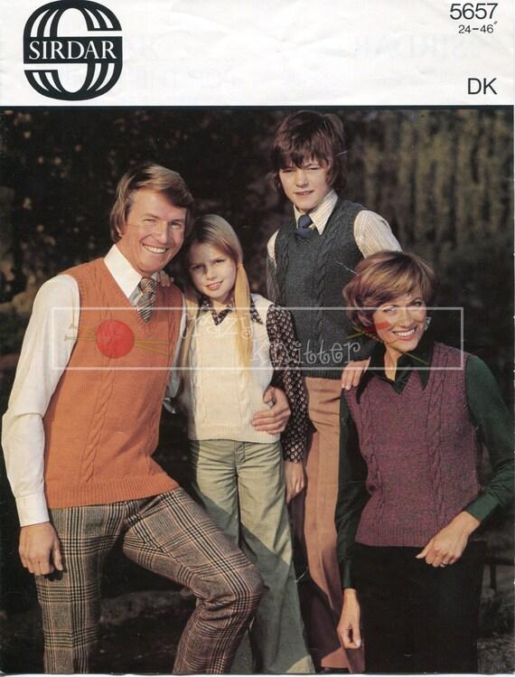 Family Sleeveless Pullover 24-46in DK Sirdar 5657 Vintage Knitting Pattern PDF instant download