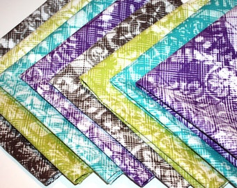 """Set of 8 Cotton Hand Sewn 15"""" Square Two Ply Napkin Set ... Four Different Colors!"""
