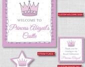 Purple Princess Printable Birthday Party Kit - Purple Princess Birthday Party - DIGITAL DESIGN