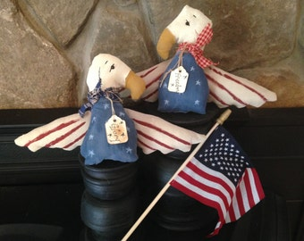Americana Freedom and Glory Flyers, Set of Two Primitive 4th of July Eagles/Birds