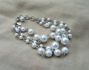 On Sale Faux Pearl 3 Strand Beaded Bracelet Costume Jewelry Fashion Accessory