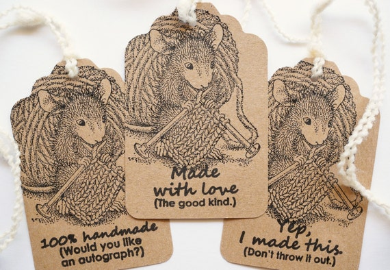Knitting gift tags hand knit by tags handmade by for Hand knit with love labels