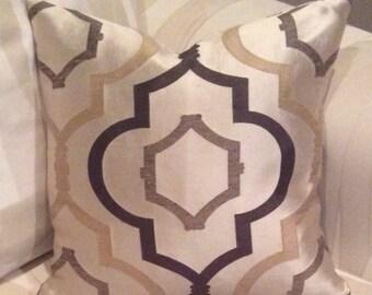 "Tan, dark brown, taupe 18"" pillow cover"