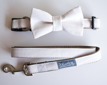 Wedding Dog Bow Tie in Premium Ivory Linen - Dog Ring Bearer