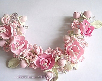 bracelet with flowers, pink bracelet, with sakura bracelet with pearls