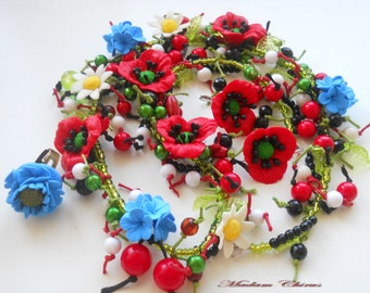 Set necklace, earrings, ring. Necklace with poppies, daisies, cornflowers. Summer necklace, earrings with flowers.