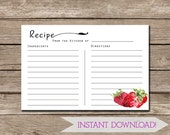 INSTANT DOWNLOAD - Country Style 4x6 Strawberry Recipe Card - Ready to Print