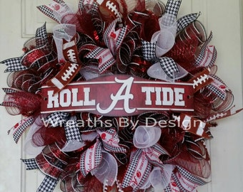 University of Alabama Wreath-Door Wreath-Bama Wreath-Alabama Football Wreath-Wreaths-Fall Wreath-