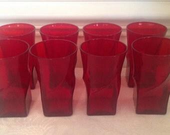 Set of Eight Morgantown Ruby Swirl 8 oz Tumblers