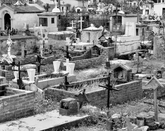 Tepoztlan Cemetery in Mexico Fine Art Photograph, Gallery Wall Art, Room Decor, Mexico Image, Gift, Cemetery Print, Black and White Photo