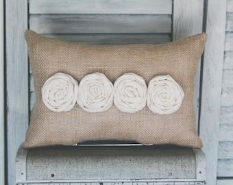 Burlap Decorative Pillow Burlap and Rosette Decor Pillow Simple Pillow Roses Rosettes Home decor burlap pillow 14x9 accent  pillow