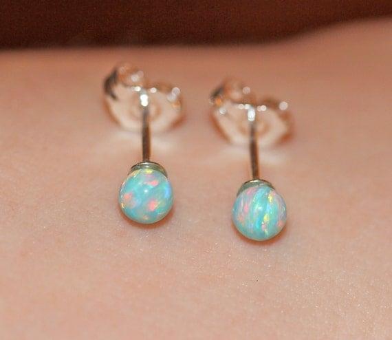 Opal earrings - opal ball earrings - opal stud - opal ball studs - fire opal - a set of aqua green opal balls set onto sterling silver posts