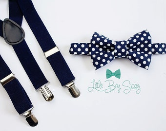 Boys Navy Bow Tie and Susenders, Boys Bow Tie, Wedding Bow Tie, Navy Wedding, Baby Boy Bow Tie, Boys Clothes, Baby Boy Suspenders, Weddings