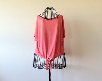 Vintage Blouse.Pink Orange Top. Summer Top.