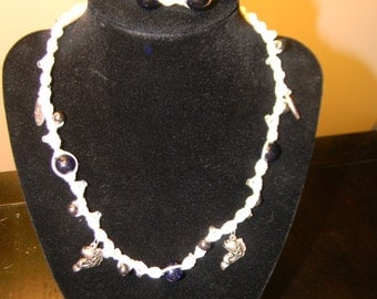 Beaded Knot Necklace and Bracelet in Blue & White