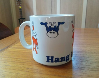 "Vintage Russ Mug ""Hang in There"" Colorful & Funny"