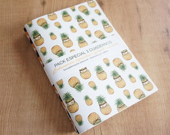 Pineapple Notebook. Pack 3 different units.