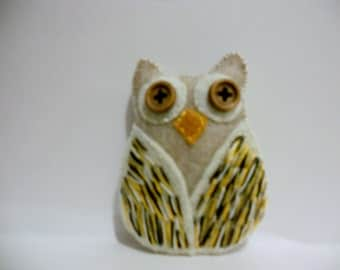 Owl Softie,Owl Decor,Felt Owl,Embroidered Owl,Shelf Owl,Owl Magnet,
