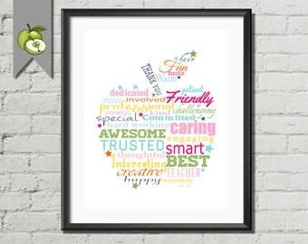 colourful word art apple, apple, Teacher Appreciation Gift, Thank you, rainbow word art, word cloud, printable, retirement, end of term