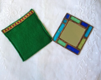 HANDMADE POCKET MIRROR  Unique Blue,Green and Yellow Colors with Handcrafted Case. Tiffany Stained Glass Hand Mirror,Sweet Girl/Women's Gift