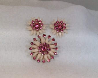 Pink Flower Brooch and Earrings