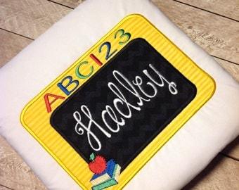 Back to School shirt-applique school shirt-girl back to school-ruffle shirt-chalkboard back to school